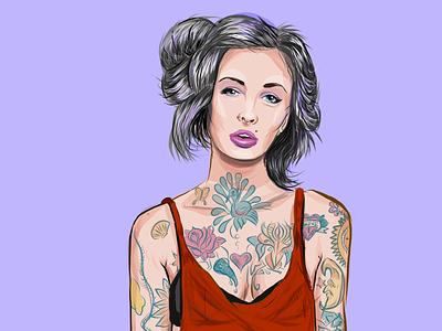 Tattooed cute sexy woman tattoos apple pencil adobe illustrator draw illustration