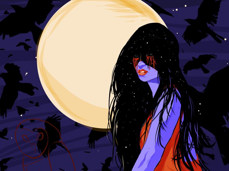 Bellatrix bellatrix stars moon ravens spooky girl spooky goth gothic vector illustration digital painting vector art digital art illustration