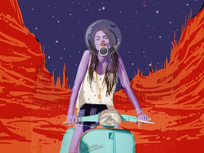 Life on Mars, IV vector art digital art illustration vespa astronaut moonlight woman sexy mars