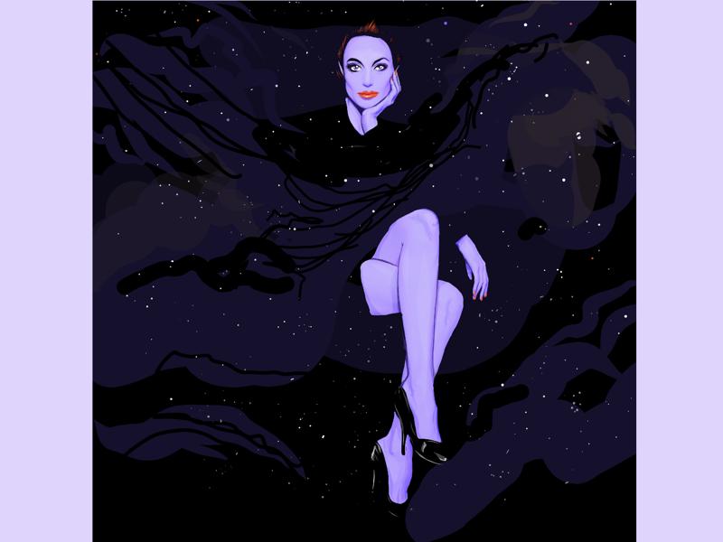 Galaxies in her eyes digitalarts heels legs galaxy space sexy woman adobe illustrator draw illustration
