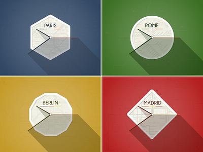 European Clocks (with .psd) colorful color clocks european flat long shadow paris rocketdesign .psd free google
