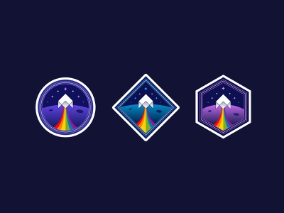 Strapi retro space stickers 🚀 stars orbit branding illustration strapi brand logo badge planet spaces rocket space stickers