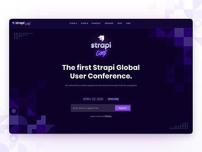 StrapiConf 2021 🎙 photobooth card speaker kevincdnc logos shapes geometrical retro registration page registration logo landing website strapiconf conference