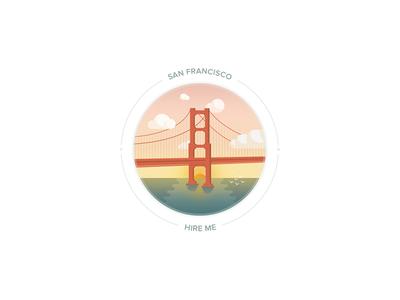 Hire me - San Francisco hireme illustration city sanfrancisco goldengate bridge sunset kevincdnc hire me