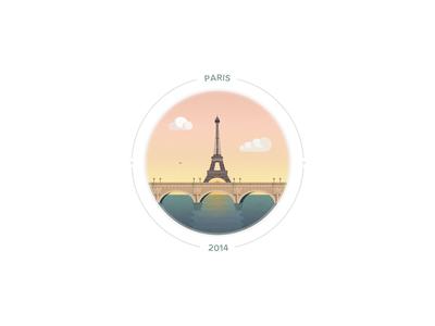 Sunset on Paris illustration badge paris eiffeltower bridge sunset vector eiffel cloud
