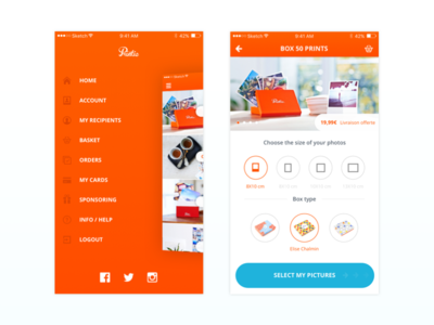 Printic IOS app polaroid ios design lateral menue mobile app instagram kevincdnc lateral menu mobile print printic