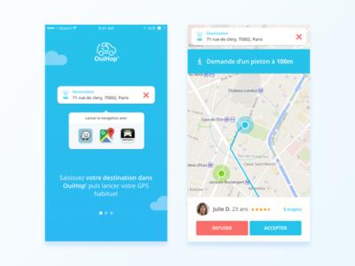 OuiHop' App Redesign google map waze paris kevincdnc redesign destination map carpooling carpool ios app mobile