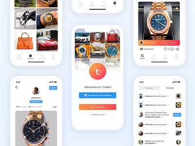 Tradee Mobile App iphonex audemars piguet rolex watch trade fancy signin mobile design ios tradee