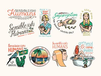 Sensible(ish) Humans losangeles california shower handmade soap soap branding engraving engraved vector logo illustration design badge vintage hand drawn