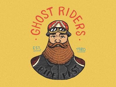 Badge with biker