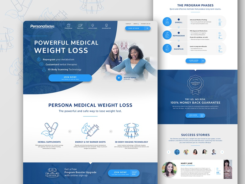 Persona Wellness Web redesign iconography weight loss health medical ui design ux design ux  ui web design