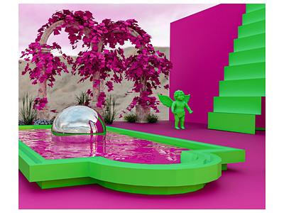 Impossible oasis 3dsmax render 3d visualization pink visualization colorful 3dmodel visual design modeling 3d
