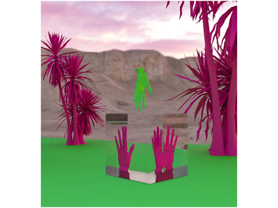 Impossible oasis 3dart view reflections visual rendering palms colorful hands visualization 3dsmax render