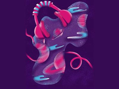 Space Music creative texture grainy purple pink headphones music space procreate illustration procreate art procreate digital design illustration colorful