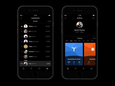 Fitness Dark UI dark fitness simple minimal ios flat debut colorful 🔑 ui app