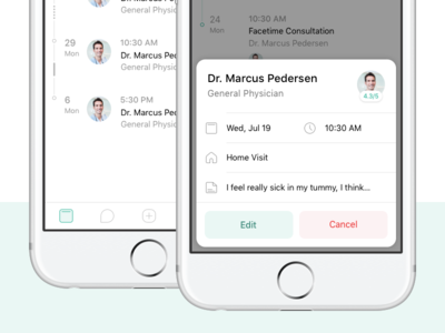 Appointments card appointment doctor green popover modal timeline simple ios