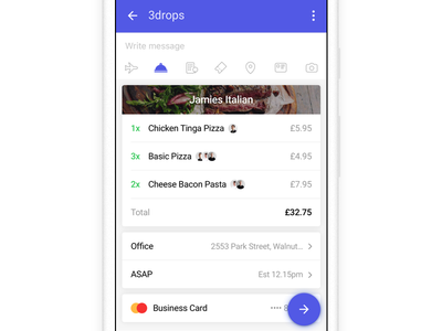 Checkout simple minimal chat order food android cards checkout