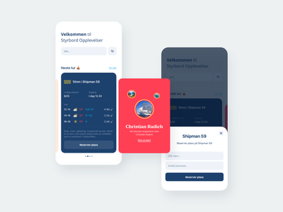 Styrbord Opplevelser app interface norwegian minimalistic design clean ux modern interaction design ui