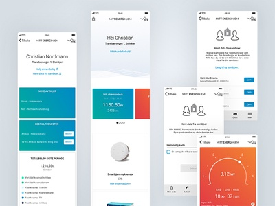 NTE - Mitt Energihjem ecommerce renewable energy app design interaction design monitoring consumption electronics energy graphs minimalistic clean ux ui