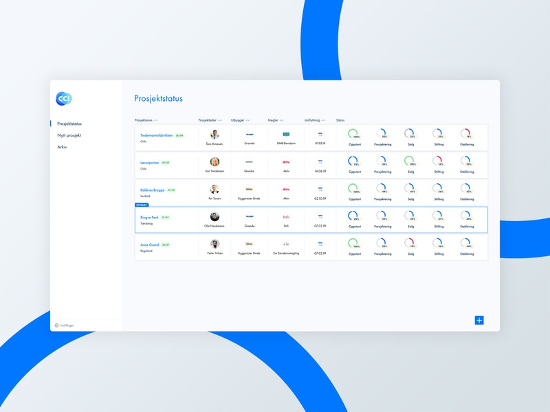 New collaboration tool for real estate development projects project management project management tool system application interface software tool dashboad modern design ux ui interaction design