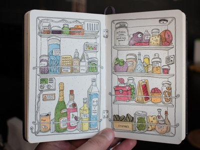This is your fridge in hotel room at the middle of the vacation watercolor moleskine illustration draw sketchbook art ink