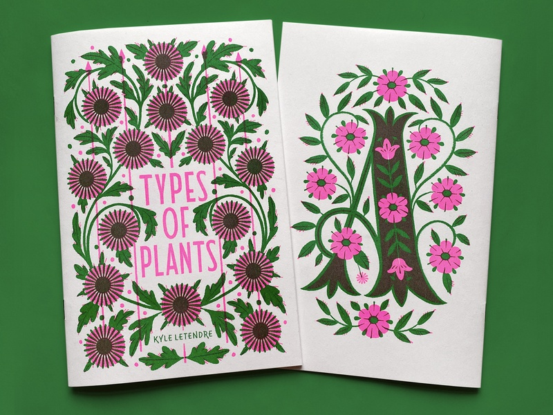 Types Of Plants zine overprinting overprint risograph illustration typography type greenery plants botanical lettering