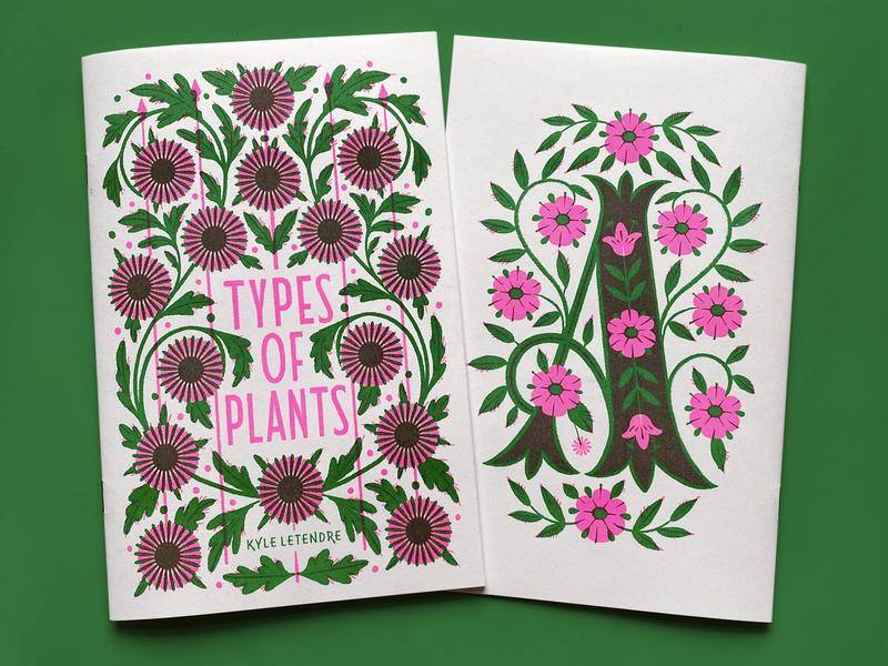 Types Of Plants zine overprinting overprint risograph illustration typography type greenery plants botanical lettering