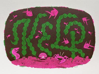 Types Of Plants: Kelp fish kelp typography printing overprint risograph plant botanical illustration lettering