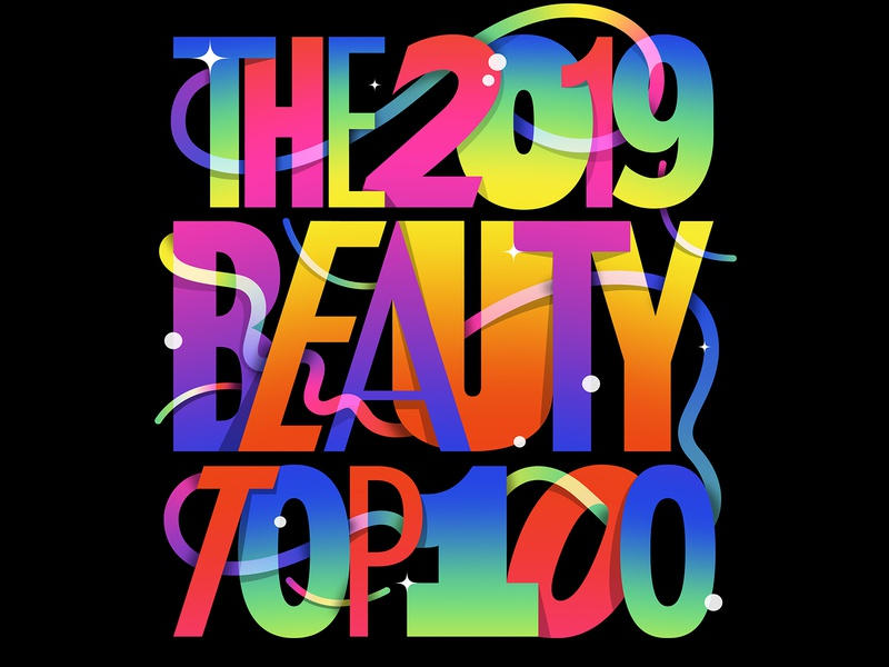 The 2019 Beauty Top 100 lettering art futuristic custom type typography illustration sans colorful gradient rainbow lettering