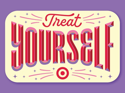 Target — Treat Yourself custom letter type sparkle gift card typography script sans bevel lettering illustration target