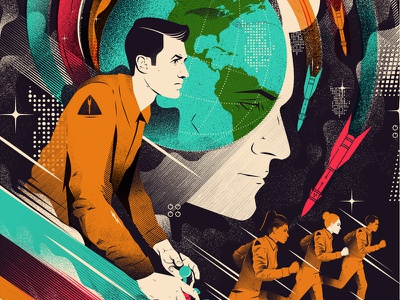 The Last Defender dystopian space texture event theatre print screenprint illustration poster