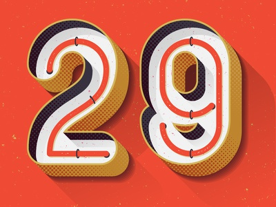 29 illustration 3d typography number signage sign neon marquee lettering