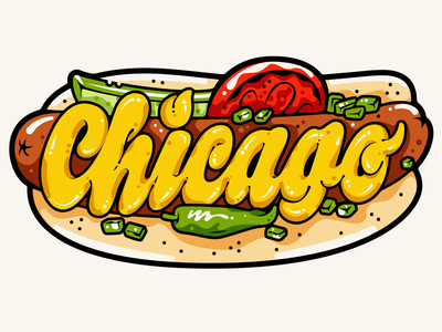 Instagram — Chicago Dog juicy instagram sticker celery salt mustard food illustration lettering hot dog chicago