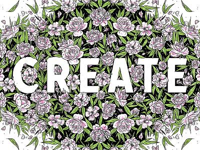 Create illustrative negative space type rose botanical floral lettering illustration
