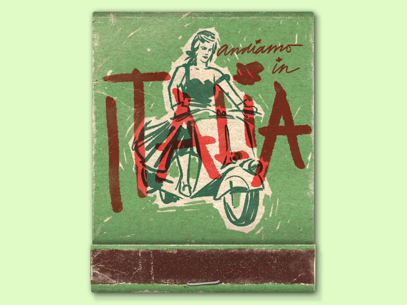 Andiamo! portrait woman lettering italia vespa italy printing screen print illustration match matchbook