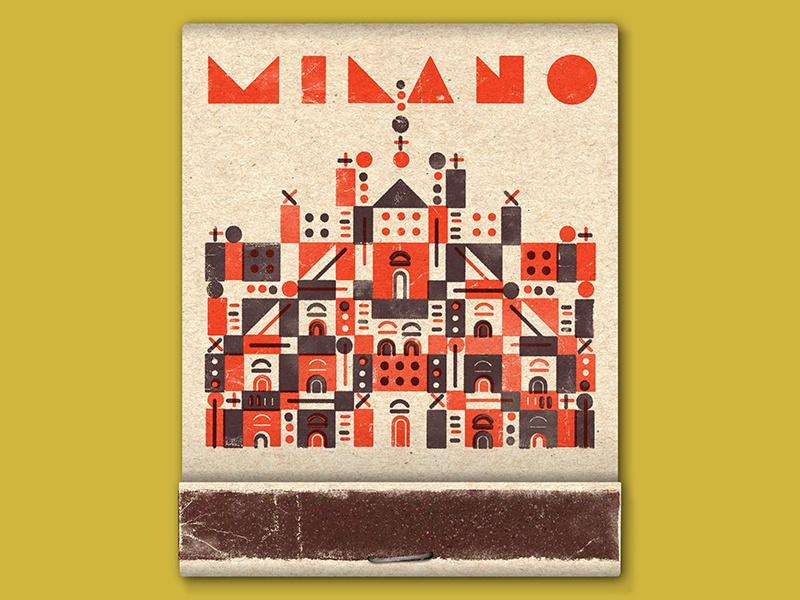 Milano! geometric lettering church duomo milan italy printing screen print illustration match matchbook