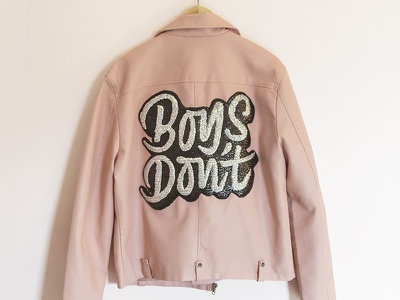 Boys Don't pink queer lgbt diy shadow brush script sewing embroidery sequin patch lettering leather jacket