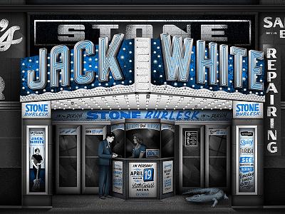 Jack White Detroit affiche poster show band jack white signage facade building lettering illustration gig poster