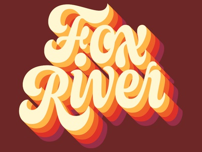 Fox River speaking type juicy script 3d dimension retro 70s seventies dimensional lettering