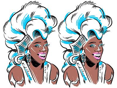 Jasmine Masters hair makeup poc queer portrait linework lgbtq drag queen rupauls drag race jasmine masters illustration