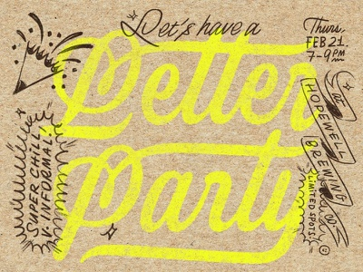 Li'l Letter Party! brush texture typography type connected custom type logotype script highlighter kraft paper doodle illustration lettering