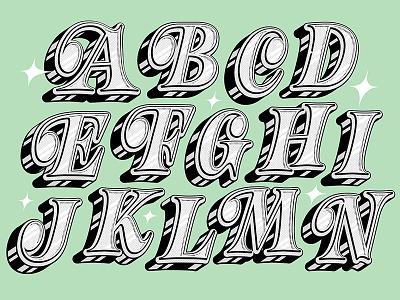 Dribbble 🔠 abecedarian art print chrome halftone ball terminal type screen print limited color print alphabet lettering