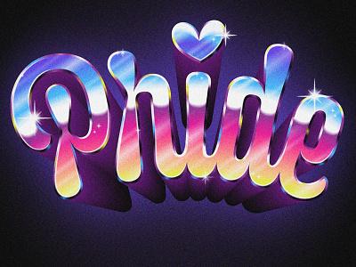 Happy Pride chromosexual 80s retro gradient custom type dimension chrome lgbtq pride lettering