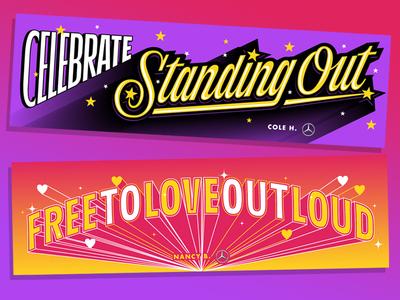 Mercedes-Benz World Pride illustration pride month dimension gradient typography custom type sticker script lettering pride