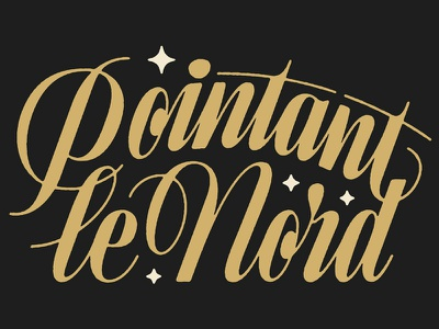 Pointant Le Nord custom type conencting condensed narrow script limited palette tattoo permanent records