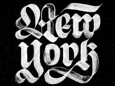 NYC painted paint brush nyc custom type texture fraktur lettering dry brush blackletter new york city