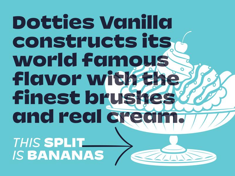 Dotties Vanilla sundae ice cream humanist sans serif sign painting sans lettering custom type typeface design type design font typeface vanilla