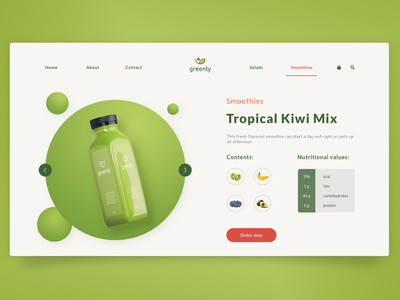 Greenly | Bio Products List interface clean landing page ui ux fruits organic green natural smoothie website design bio store shop buy branding