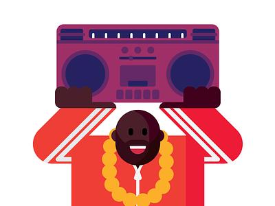 Hip-Hop fan. design character chain gold run-dmc boombox rap hip-hop