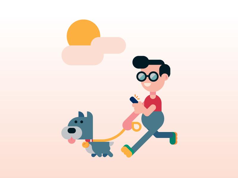 Dog Walkin'. scene phone dog walking dog walker character design character